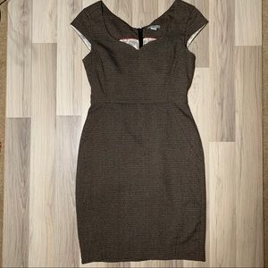 H&M Dress Houndstooth Grey Sweetheart Neck Cap